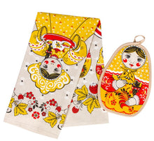 Load image into Gallery viewer, Cotton/ Linen Kitchen Towel & Potholder Set Matryoshka Beauty Girl Imported from Russia