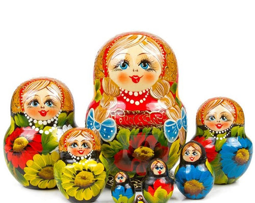 Blonde Braids Russian Matryoshka Nesting 10 Dolls Set with Gold Leaf Import