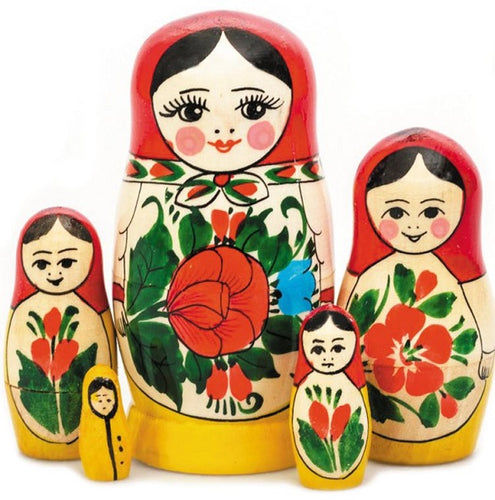 Russian Hand-painted Matryoshka Nesting 5 Dolls Set Import