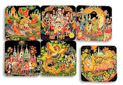 Beverage Cardboard Drink Coaster 6-piece Set Russian Palekh Fairy Tales