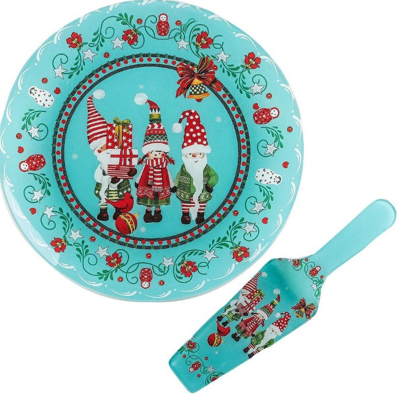 Serving Platter Christmas Gnomes Cake Platter with Spatula 11.8-inch Cake Decorating Tools