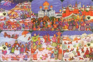 "Beverage Coaster 6-piece Set 'Russian Fairy Tales"" Import"