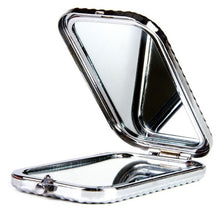 Load image into Gallery viewer, Magnifying Double Sided Compact Mirror 'Blizzard' Pocket-size Travel Makeup Mirror