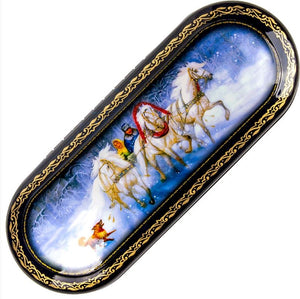 Russian Palekh Lacquer Eyeglass Case Winter Troika