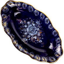 Load image into Gallery viewer, Porcelain Scalloped Rim Gold Plated Hand-Painted Signed Serving Dish Gzhel