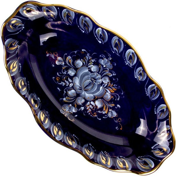 Porcelain Scalloped Rim Gold Plated Hand-Painted Signed Serving Dish Gzhel