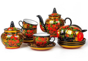 Strawberry Russian Khokhloma 14-pc Tea Set Porcelain Hand Painted for 6