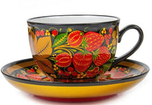 Load image into Gallery viewer, Strawberry Russian Khokhloma Teacup and Saucer Porcelain Hand Painted
