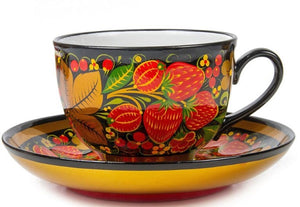 Strawberry Russian Khokhloma Teacup and Saucer Porcelain Hand Painted