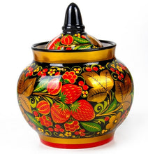 Load image into Gallery viewer, Strawberry Russian Khokhloma Sugar Bowl Porcelain Hand Painted