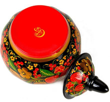 Load image into Gallery viewer, Strawberry Russian Khokhloma Sugar Bowl Porcelain Hand Painted with Factory Seal Stamp