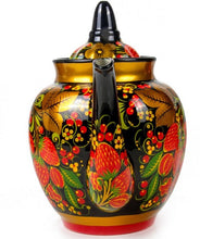 Load image into Gallery viewer, Strawberry Russian Khokhloma Teapot Porcelain Hand Painted