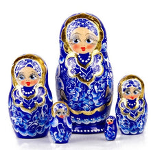Load image into Gallery viewer, Blue & Gold Gzhel Russian Hand-painted Matryoshka Nesting 5 Dolls Set Import