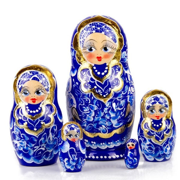 Blue & Gold Gzhel Russian Hand-painted Matryoshka Nesting 5 Dolls Set Import