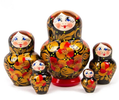 Russian Handmade & Hand-painted Matryoshka Nesting 5 Dolls Set Khokhloma Import