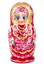 Load image into Gallery viewer, Red Gzhel Russian Nesting 5 Dolls Matryoshka Hand-painted