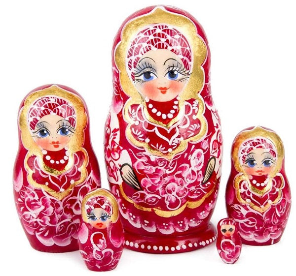 Red Gzhel Russian Nesting 5 Dolls Matryoshka Hand-painted