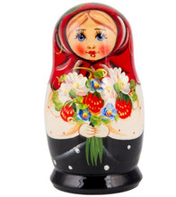 Load image into Gallery viewer, Wild Strawberries Bouquet Russian Matryoshka Nesting 5 Dolls Hand-Painted Set Import
