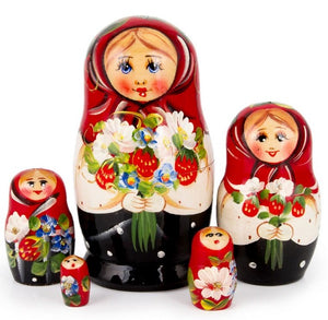 Wild Strawberries Bouquet Russian Matryoshka Nesting 5 Dolls Hand-Painted Set Import