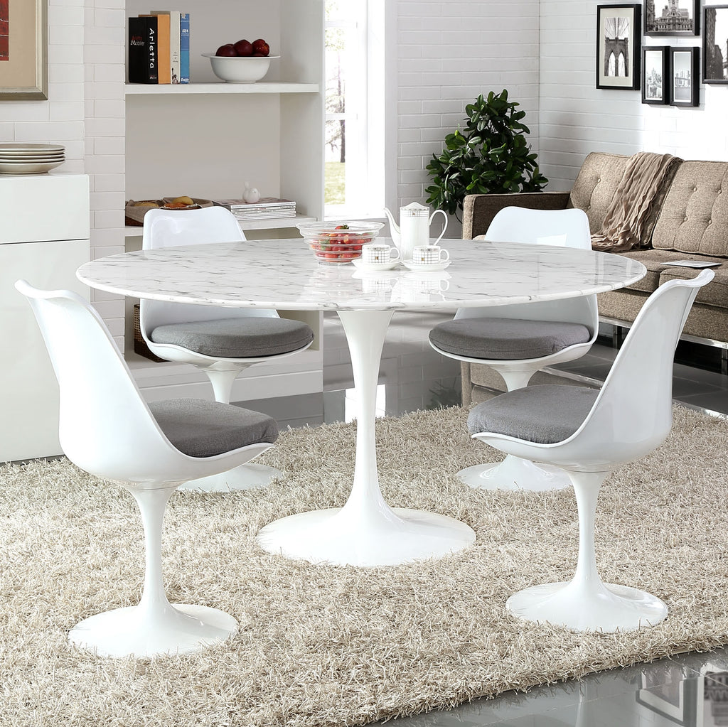 Tulip Round Artificial Marble Top Dining Table Stealmod Furniture
