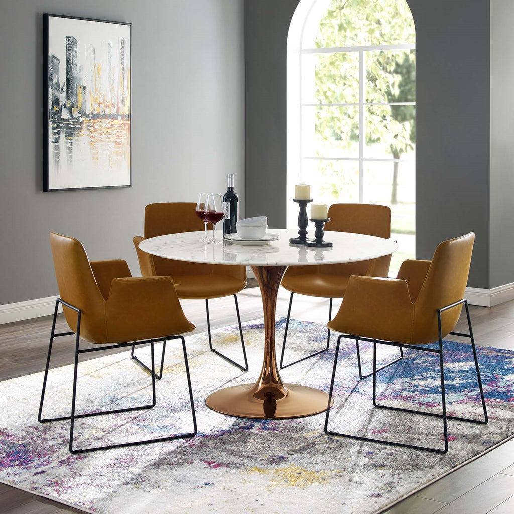 Tulip Round Artificial Marble Top Dining Table With Copper Base Stealmod Furniture
