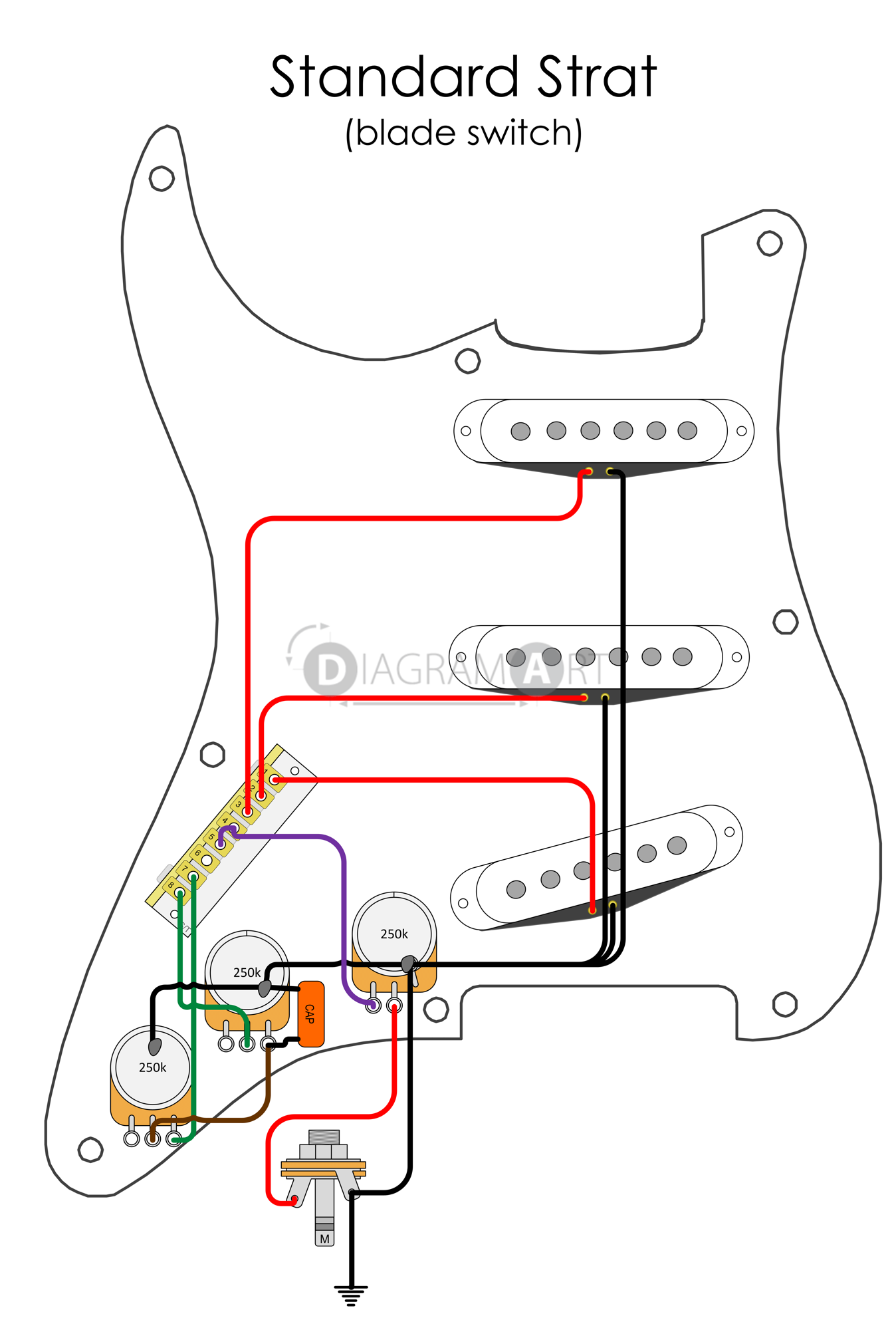 Electric Guitar Wiring Detailed Diagrams Common Amplified Parts Standard Strat Blade Switch Capacitor Values