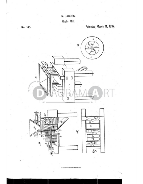 USPTO Patent_0000145 , Free Sketch - Diagramart Author, DiagramArt