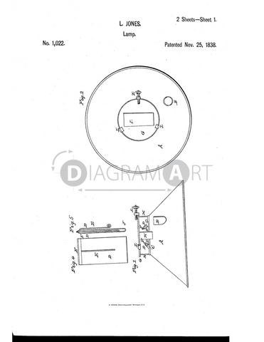 USPTO Patent_0001022 , Free Sketch - Diagramart Author, DiagramArt