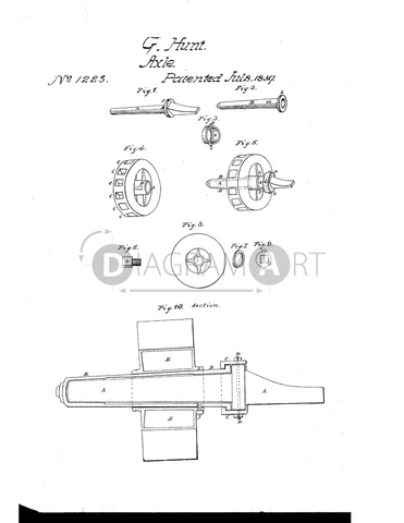 USPTO Patent_0001223 , Free Sketch - Diagramart Author, DiagramArt