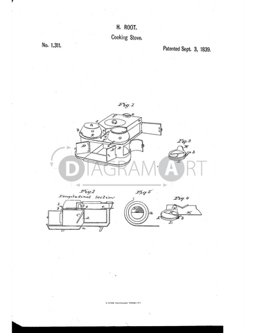 USPTO Patent_0001311 , Free Sketch - Diagramart Author, DiagramArt