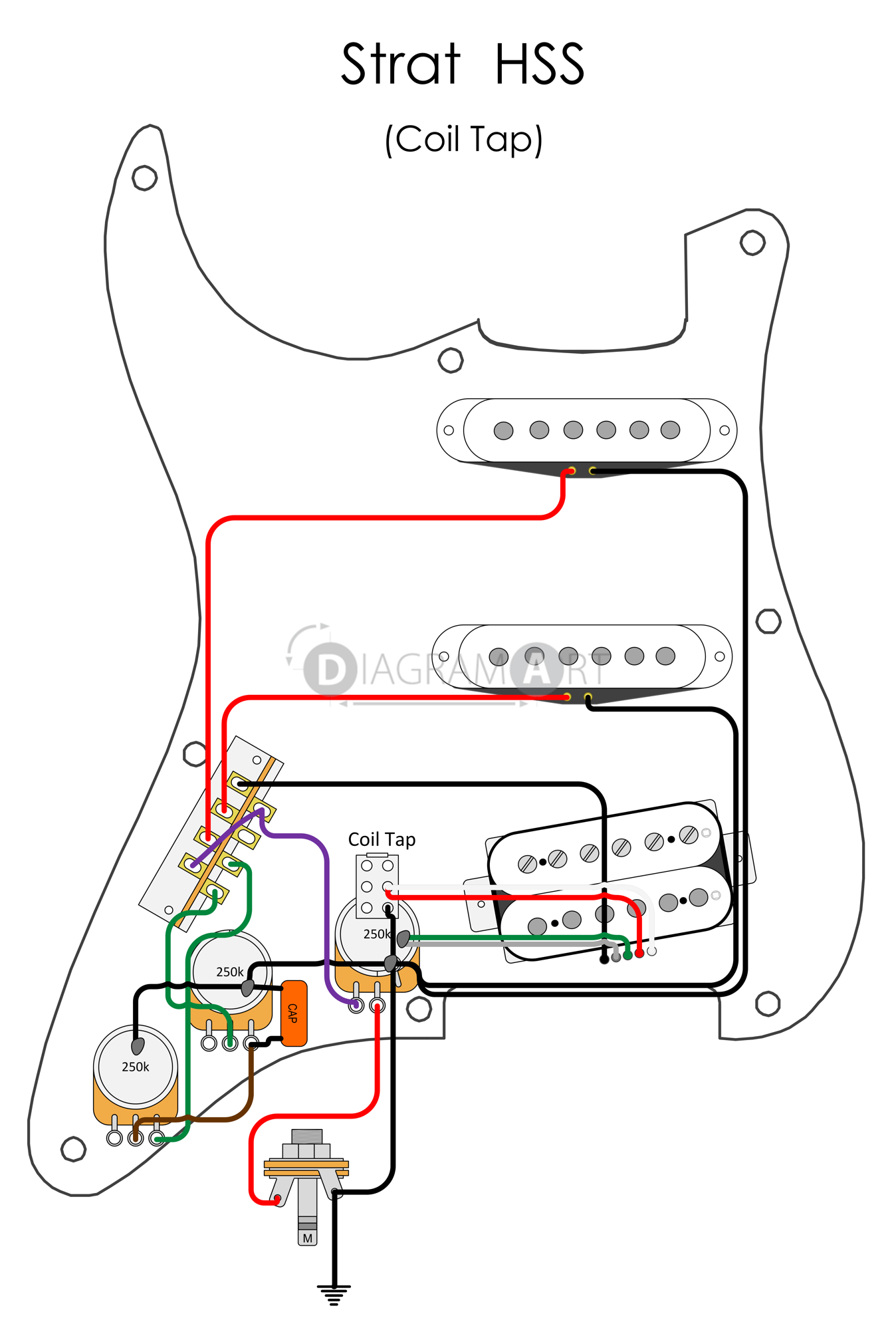 Hss Strat Wiring Schematic Diagrams Diagram On Series Parallel Humbucker Split Coil Electric Guitar Tap Circuit 5 Way Switch