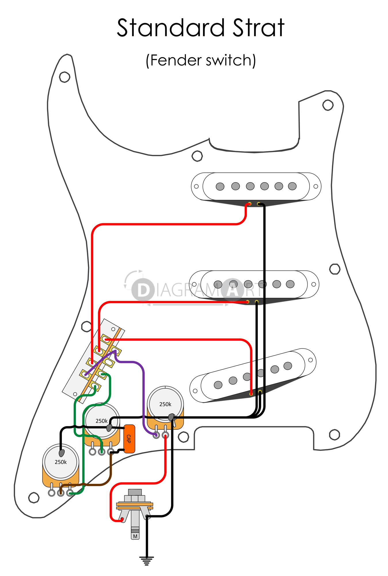 Fender Standard Strat Wiring Diagrams Noiseless Electric Guitar Switch Stratocaster Diagram American