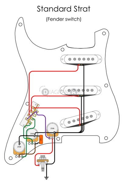 Electric Guitar Wiring: Standard Strat (Fender Switch) [Electric Circuit]