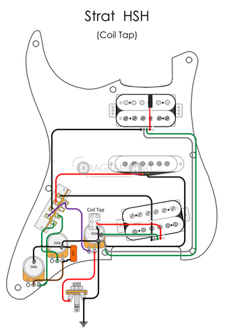 Electric Guitar Wiring: Strat HSH (Coil Tap) [Electric Circuit] , Free Sketch - DIAGRAMART AUTHOR, DiagramArt
