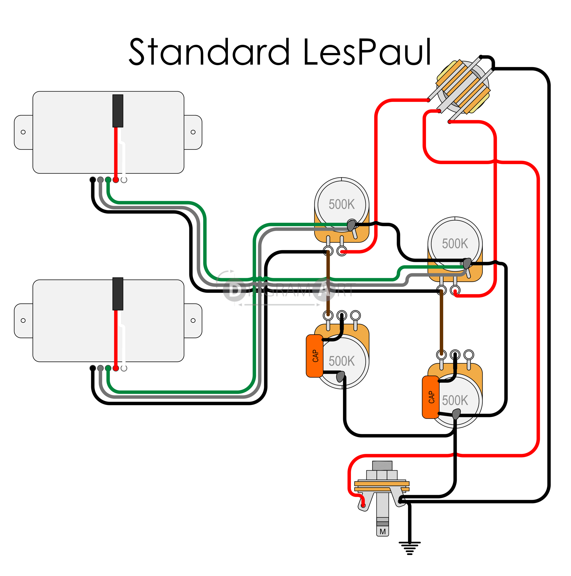 Electric Guitar Wiring  Standard Lespaul  Electric Circuit