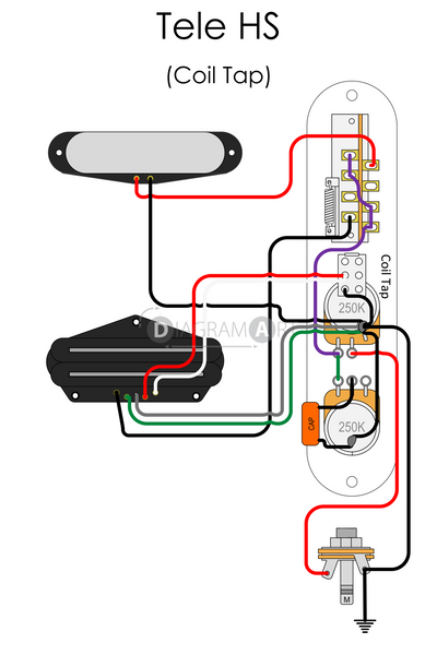 Electric Guitar Wiring: Tele HS (Coil Tap) [Electric Circuit] , Free Sketch - DIAGRAMART AUTHOR, DiagramArt
