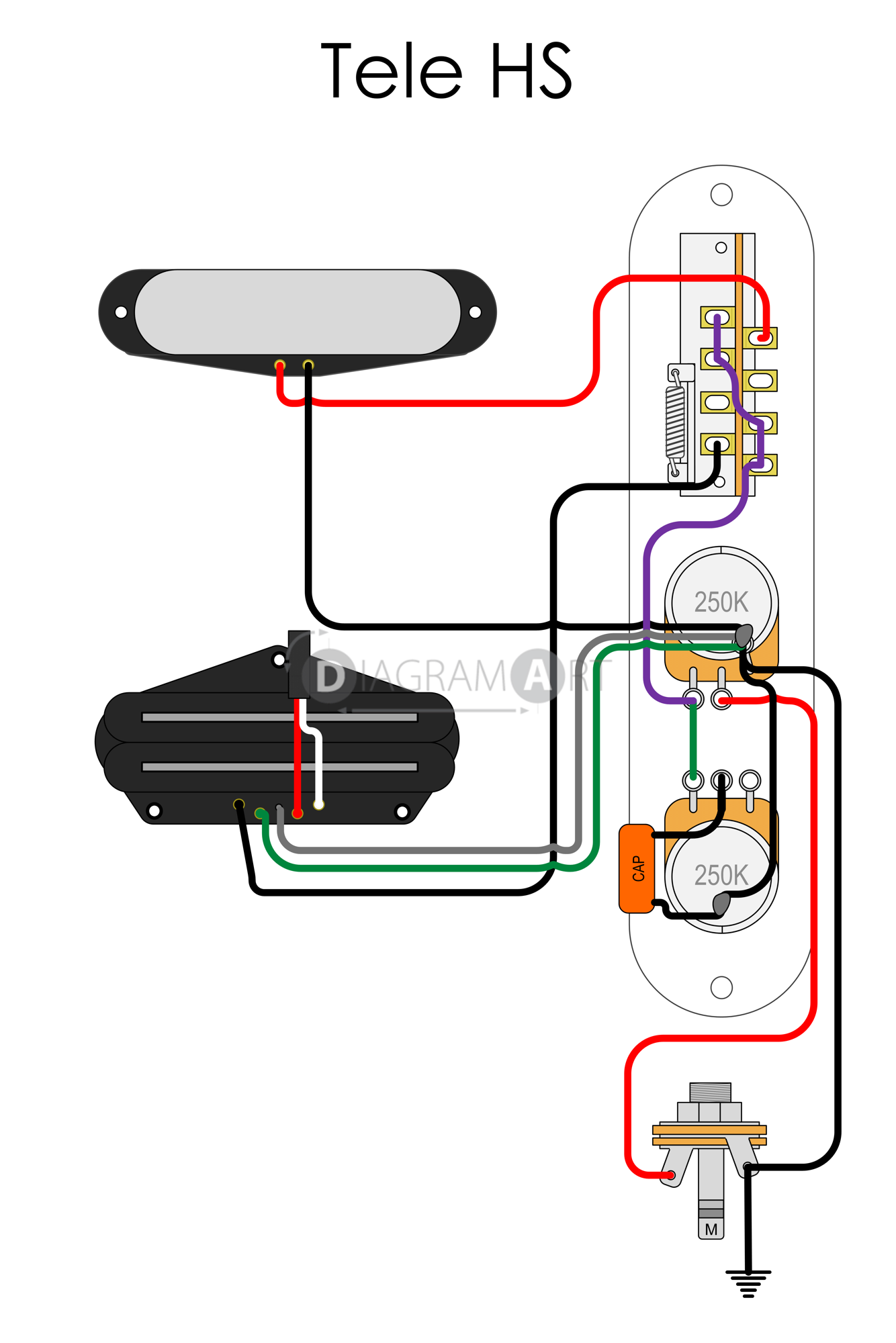 Electric Guitar Wiring: Tele HS [Electric Circuit] , Free Sketch -  DIAGRAMART AUTHOR