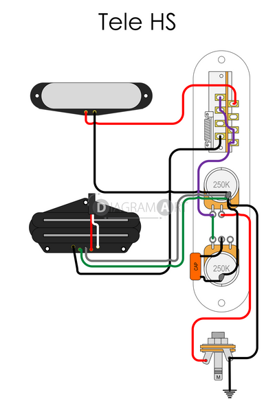 Electric Guitar Wiring: Tele HS [Electric Circuit] , Free Sketch - DIAGRAMART AUTHOR, DiagramArt