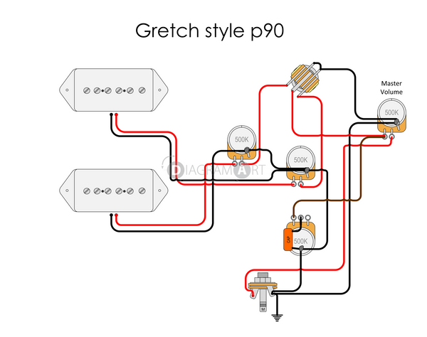 Electric Guitar Wiring  Gretch Style P90  Electric Circuit    Free Sketch
