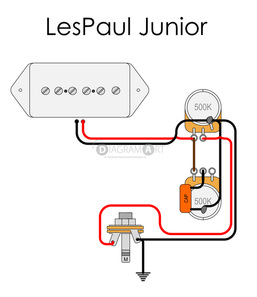 Electric Guitar Wiring: LesPaul Junior [Electric Circuit] , Free Sketch - DIAGRAMART AUTHOR, DiagramArt