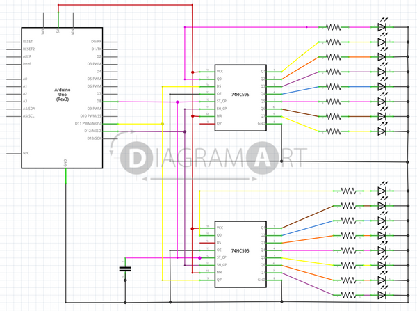 Arduino Shift register 2x , Open Diagram - DIAGRAMART AUTHOR, DiagramArt