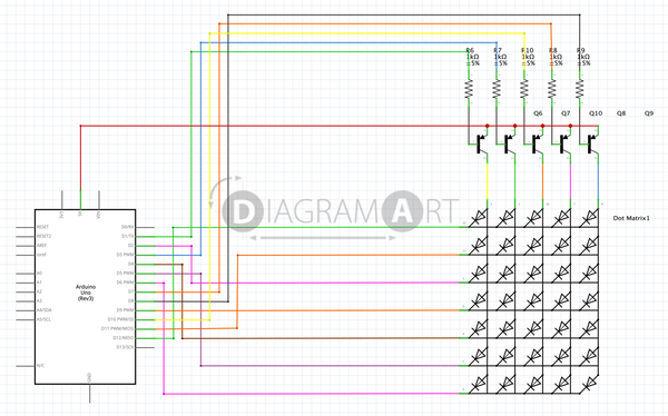 Arduino LED Matrix 5x7 , Open Diagram - DIAGRAMART AUTHOR, DiagramArt