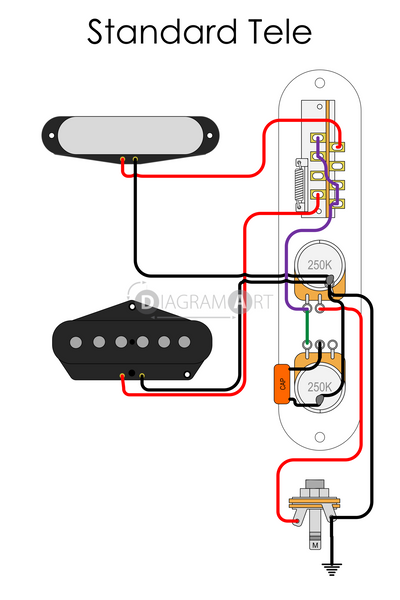Electric Guitar Wiring: Standard Tele [Electric Circuit] , Free Sketch - DIAGRAMART AUTHOR, DiagramArt