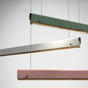 Aluminum and Wood Linear LED Chandelier