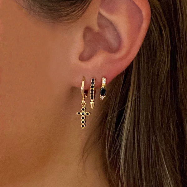 Spike Huggie Earring Black
