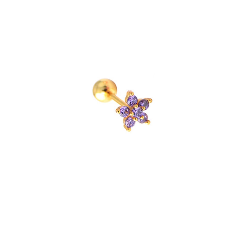 Lavender Flower Ear Stud