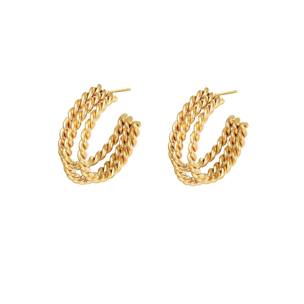Bold Twisted Studs Gold