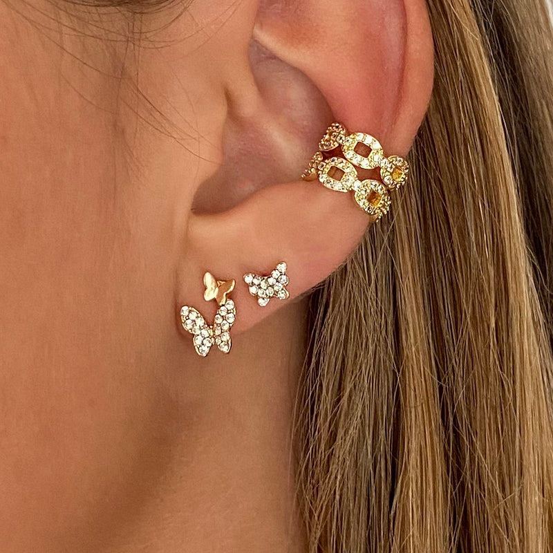Ear stud Double Butterfly