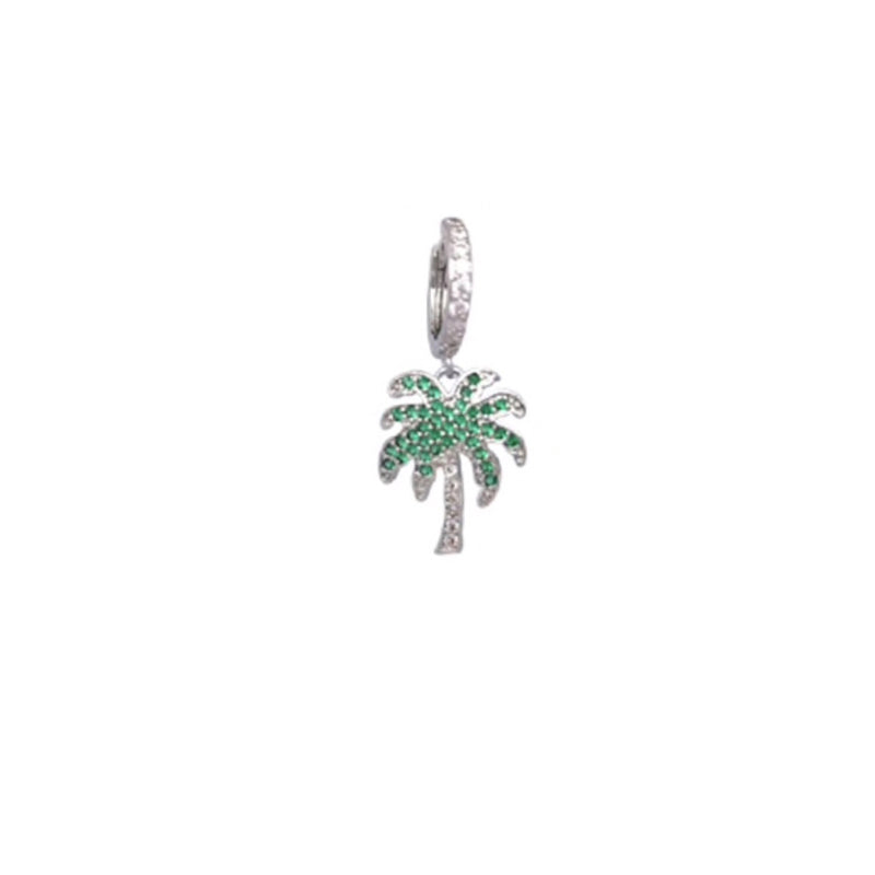 earring silver palm tree