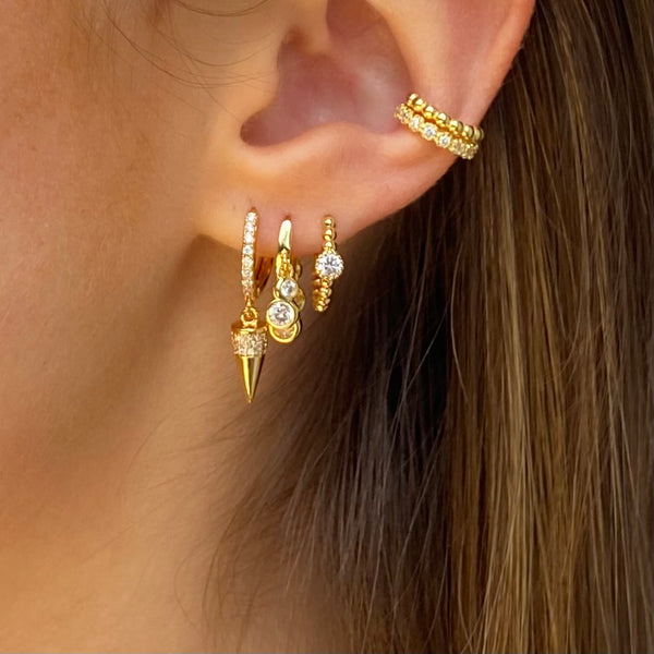 Gold Dangling Cone Earring